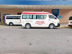 An ambulance parked outside the Kingston Public Hospital.