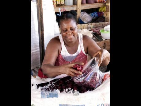 Barbara Edwards bagging sorrel for sale.