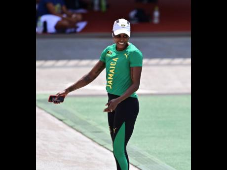 Elaine Thompson-Herah  at a training session yesterday.