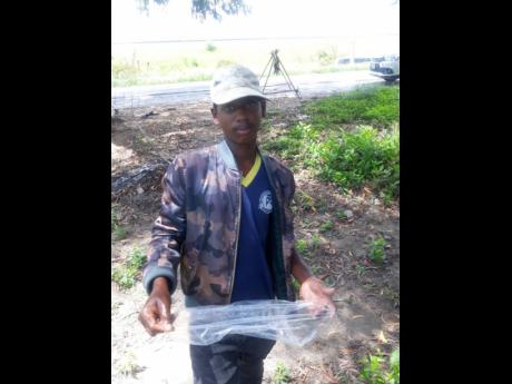 Jerome shows his net that he uses to catch perch.